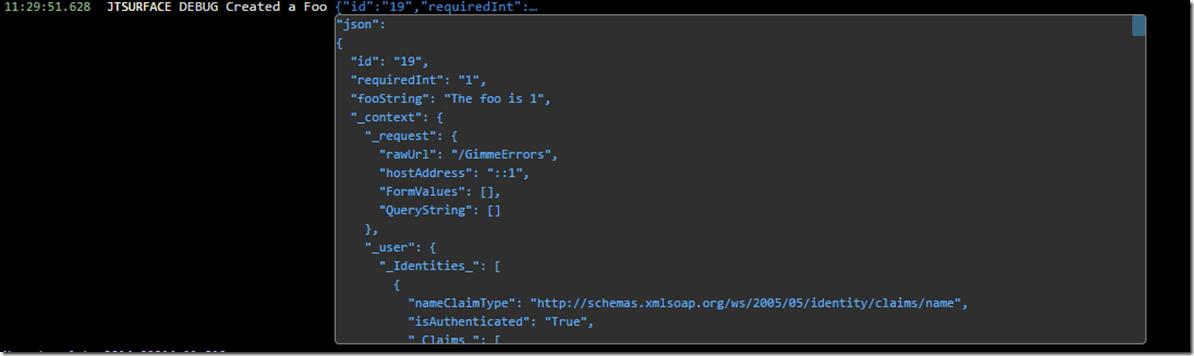 beautiful logging statements output
