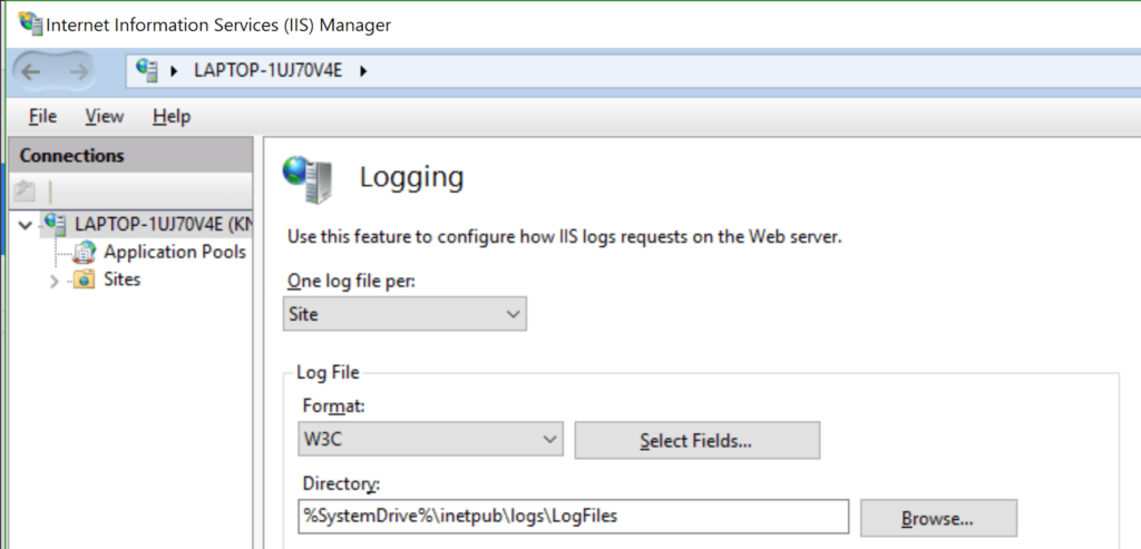 iis logs settings