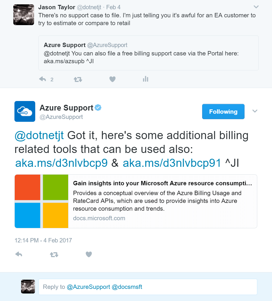 Azure billing Tweet