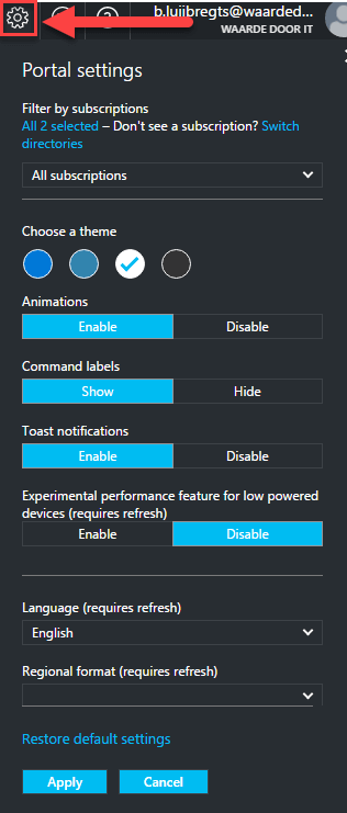 azure-portal-settings