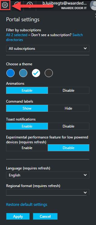 azure-portal-settings