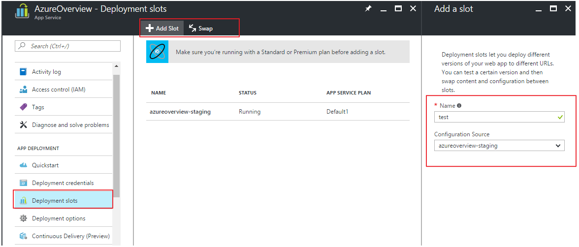Creating Azure deployment slots