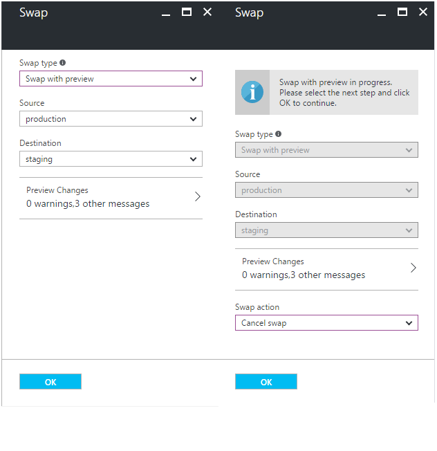 Swapping an Azure Deployment Slot with preview
