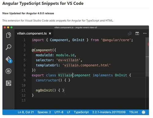 Angular v4 TypeScript Snippets