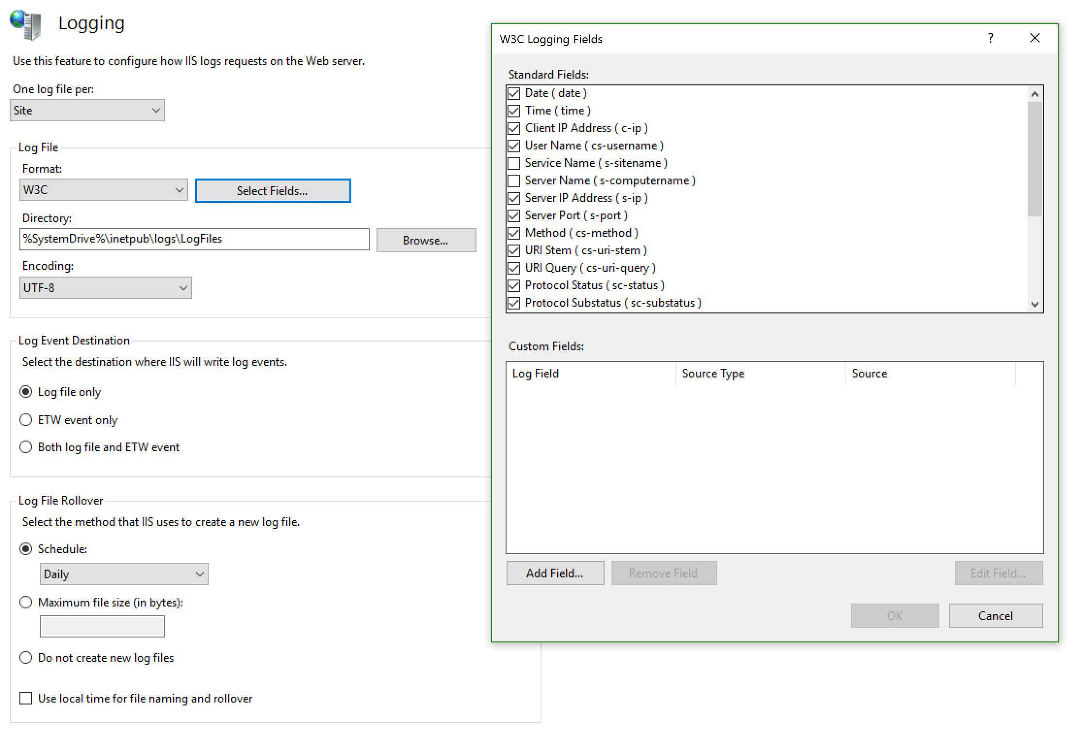 Configure IIS Logs format