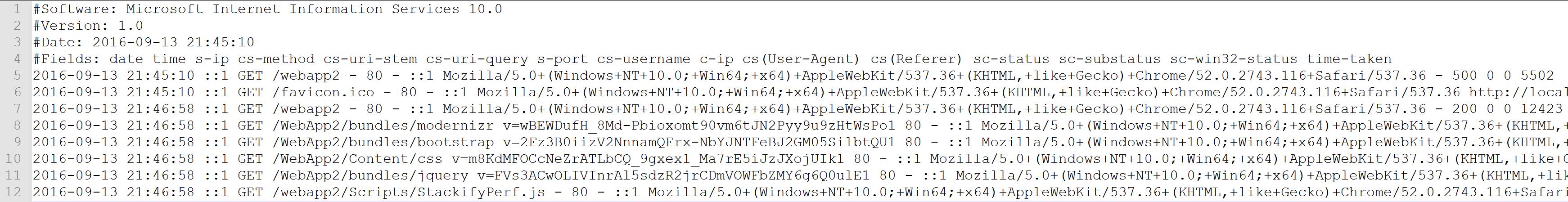 Interpret IIS Log File format