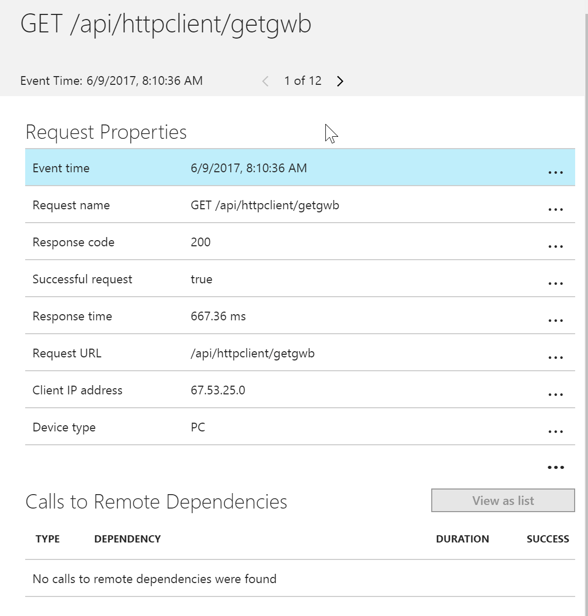 Application Insights View