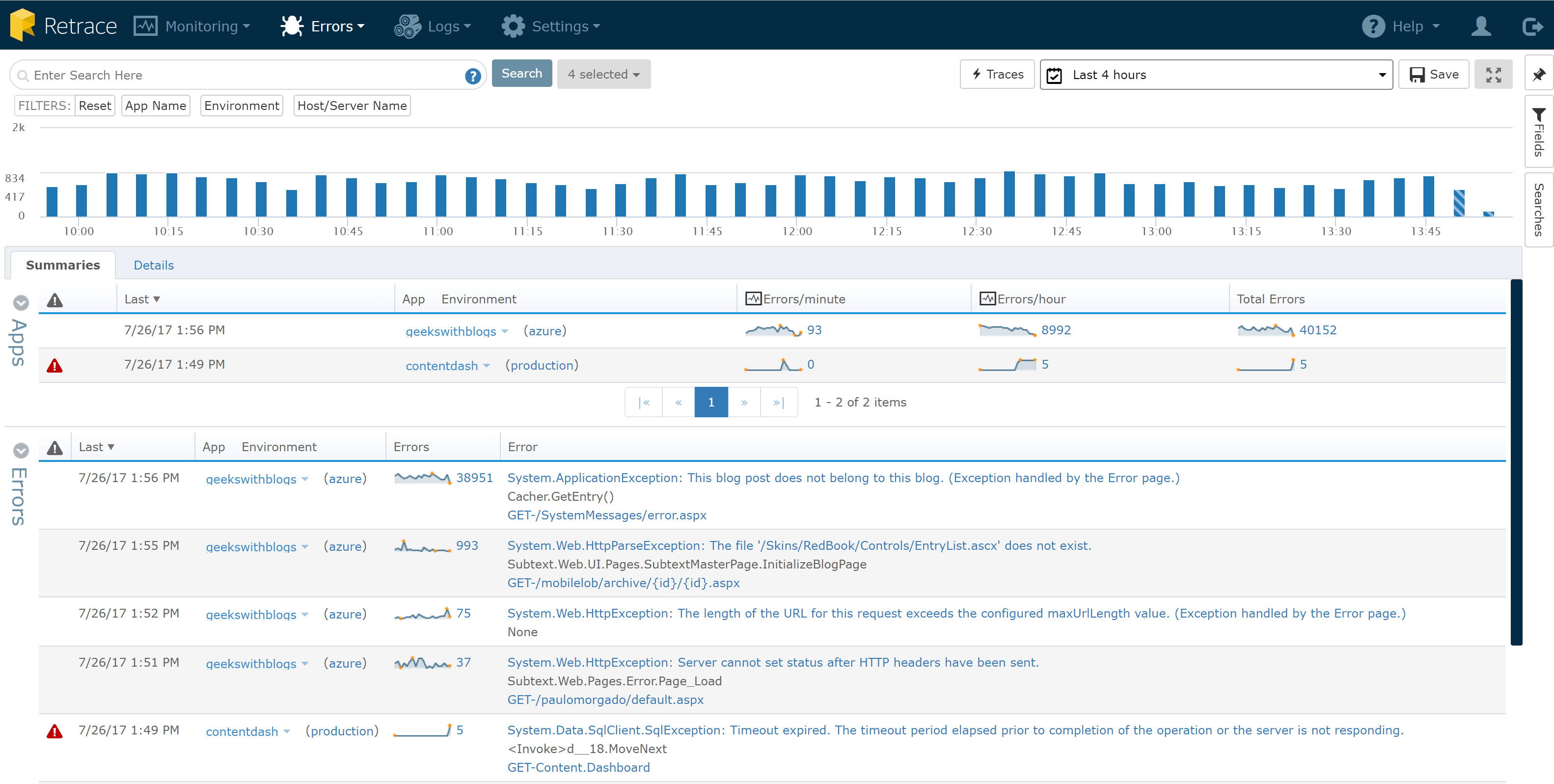 Cloud Logging Service Error Tracking