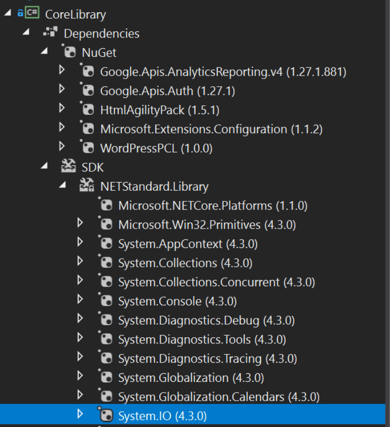 Visual Studio .NET Core DLLs