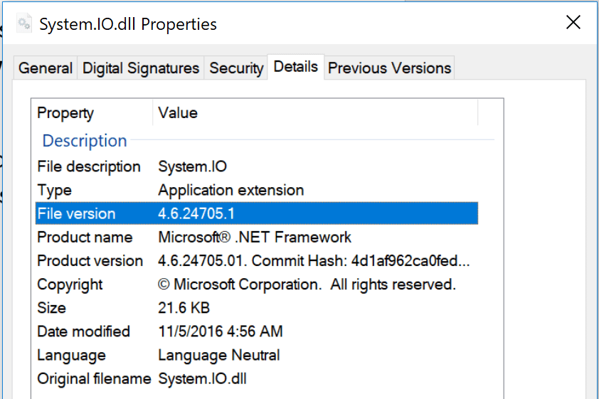 Windows File Details Showing .NET Core DLL Hell Issue