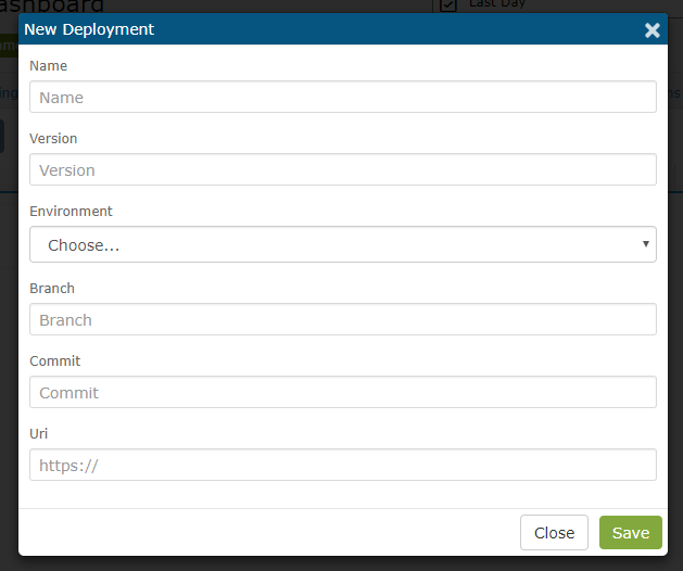 Enter the deployment information into the 'New Deployment' form and click Save.
