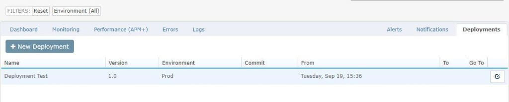Once inside the 'Deployments' tab you will be able to view your entire deployment history.