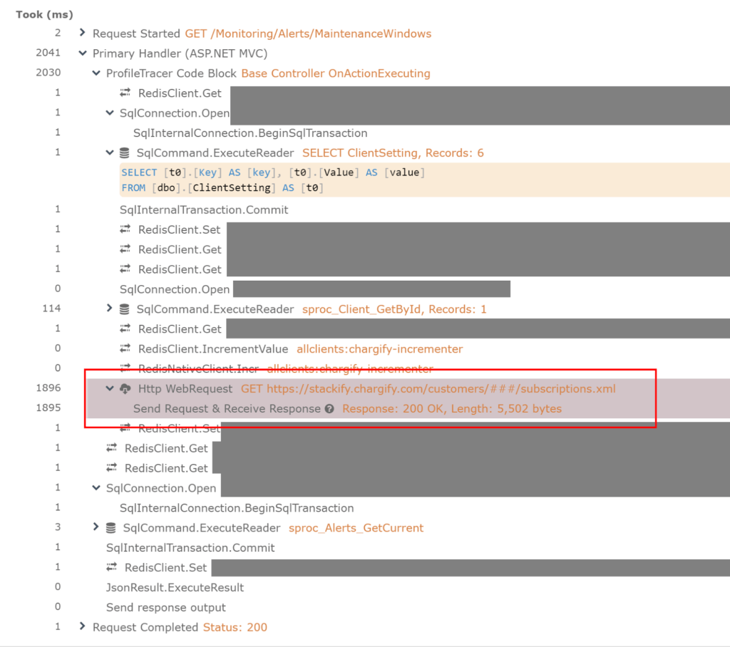 Within the context of a web request, you can see when the web service call was executed, how long it took and everything that happened just before and after it.