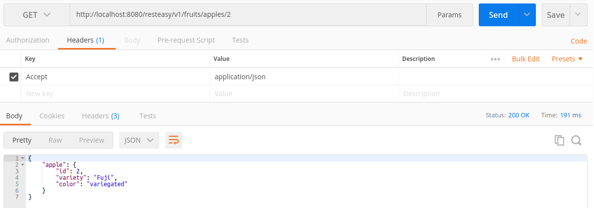 Retrieving apple 2 by id, in JSON