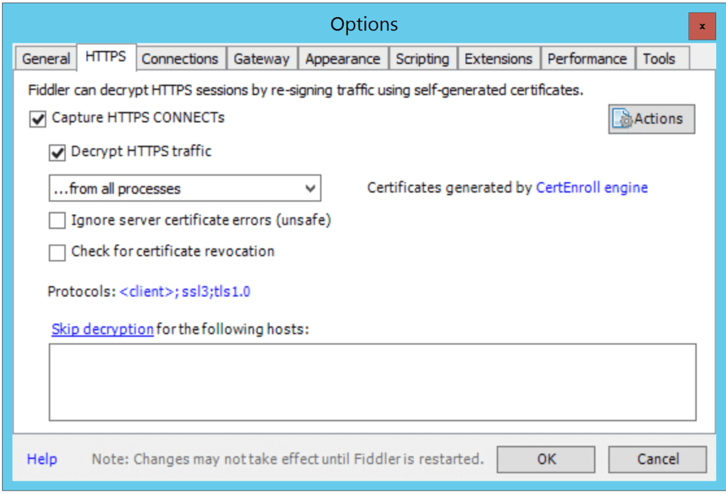 HTTPS intercept options dialog. Selecting Decrypt HTTPS traffic will insert a new certificate in the certificate chain