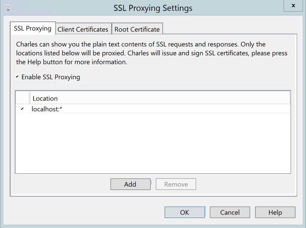 options dialog for SSL interception in Charles