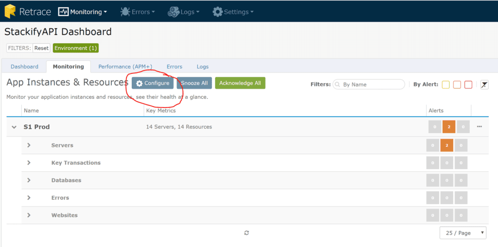 To modify how Retrace monitors your application, select your application, go to monitoring, and then click configure.