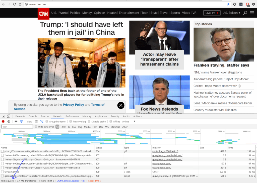 CNN screenshot to show page load time