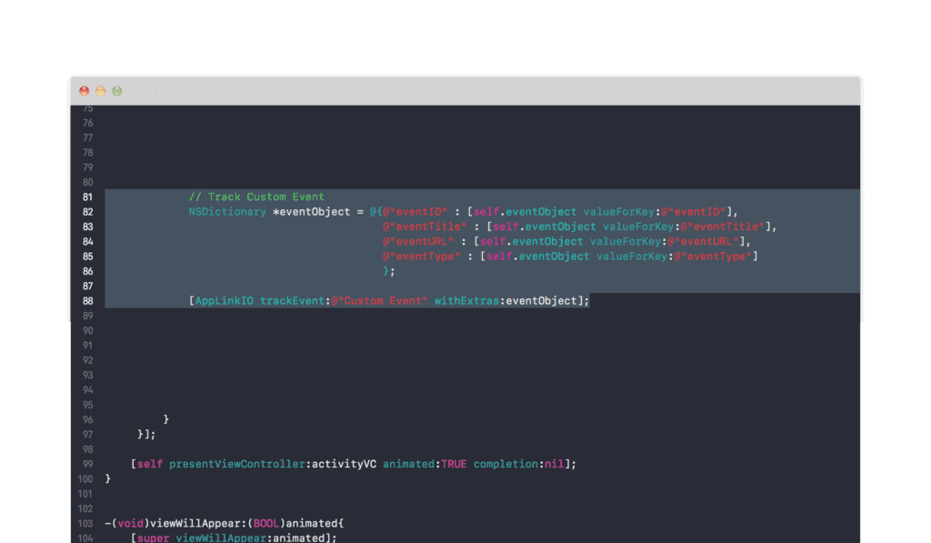 Applink.io track custom event screenshot