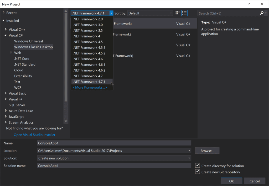 Screenshot of creating a new Visual Studio C# project and select .NET Framework 4.7.1