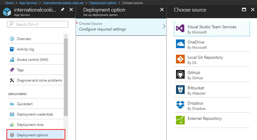 Source Code, Continuous deployment in Azure App Services