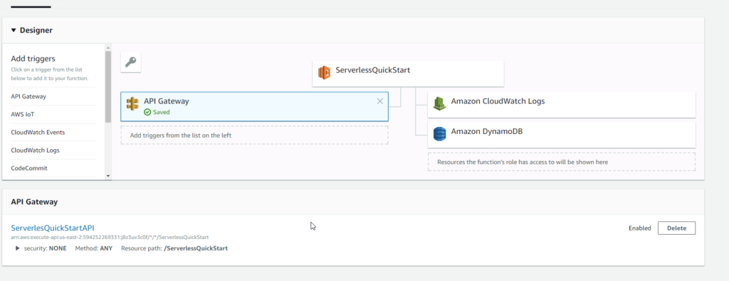 AWS Lambda configuration screenshot