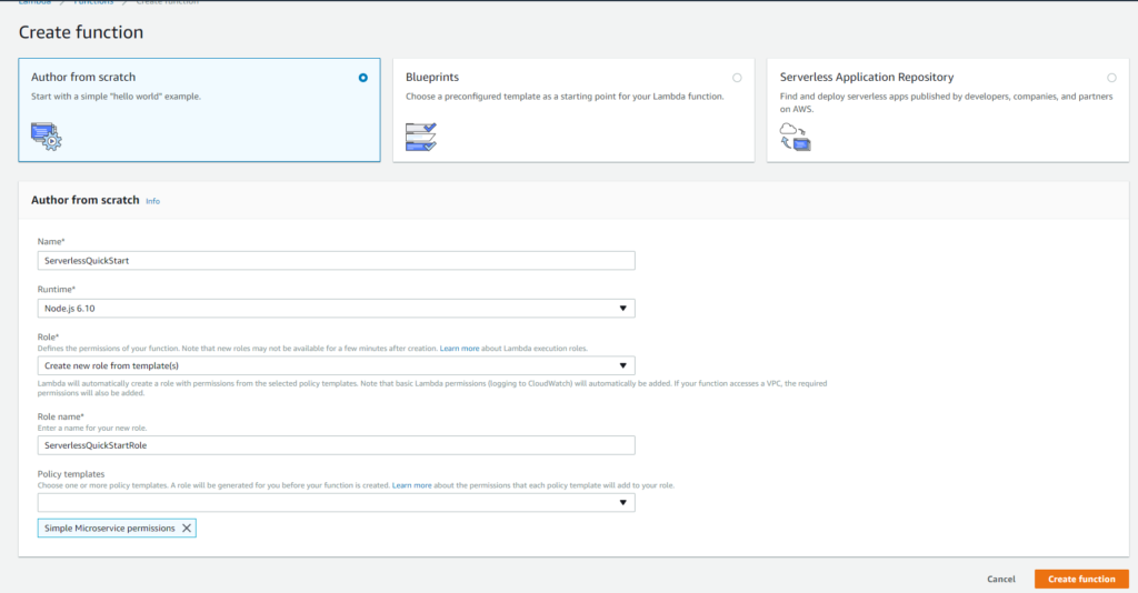 AWS Lambda function screenshot