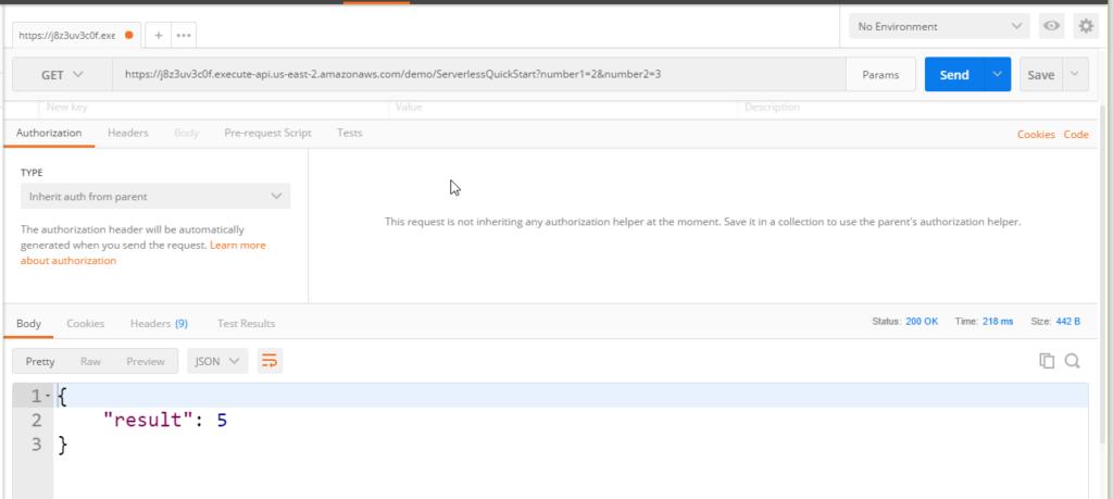 AWS Lambda result screenshot