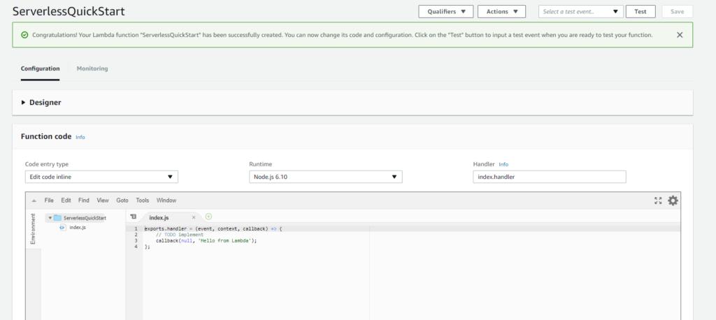 AWS Lambda serverless screenshot