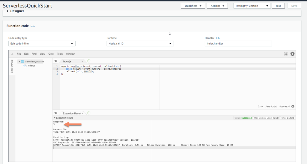 AWS Lambda test showing 5 screenshot