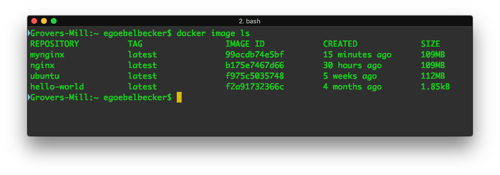 docker image ls with view of our new image