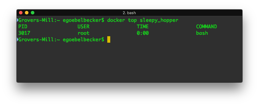 The Ubuntu container's status is Up. Let's see what's going on inside: