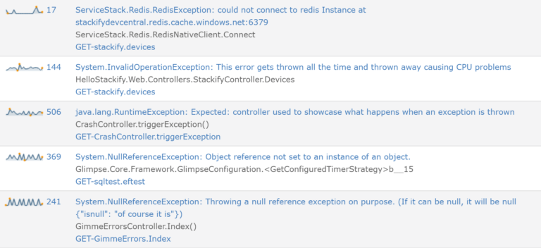 retrace features exception tracking