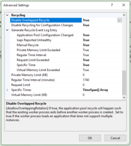 IIS Application Pool Recycle Advanced Settings