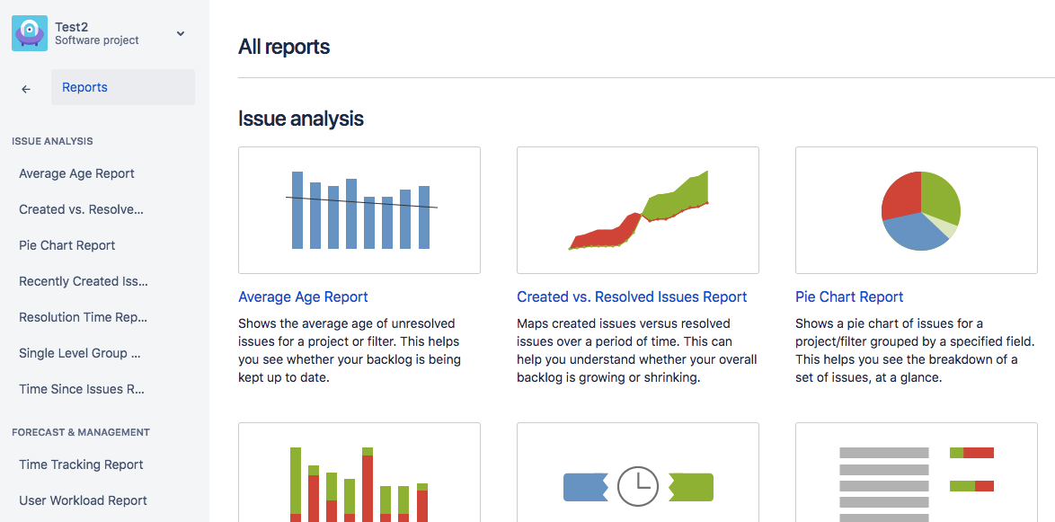 There are many options for reporting data in Jira