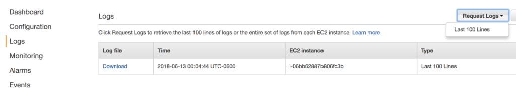 Inspect logs in AWS Beanstalk