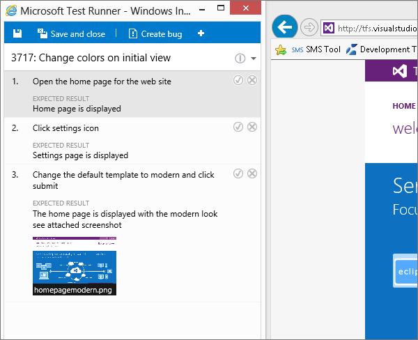 A screen showing a manual test run in VSTS