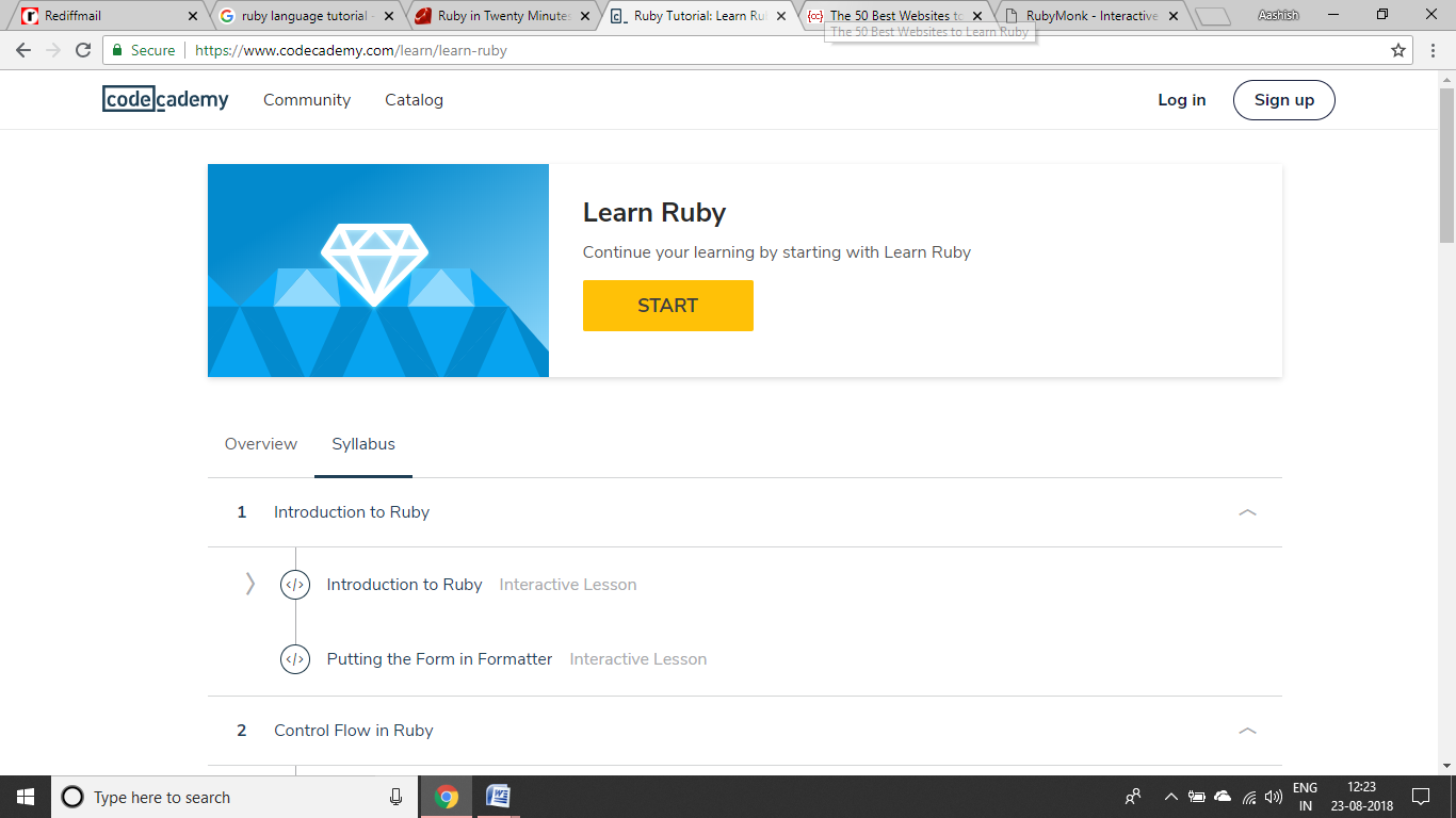 Codeacademy Ruby Tutorial