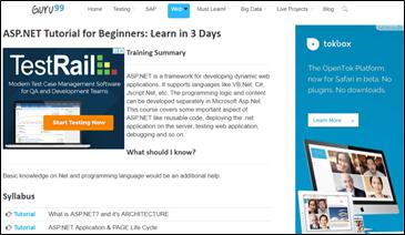 Learn Asp Net 30 Tutorials Resources Websites