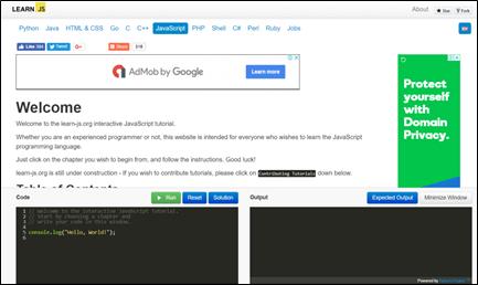Learn JavaScript: Tutorials for Beginners, Intermediate and