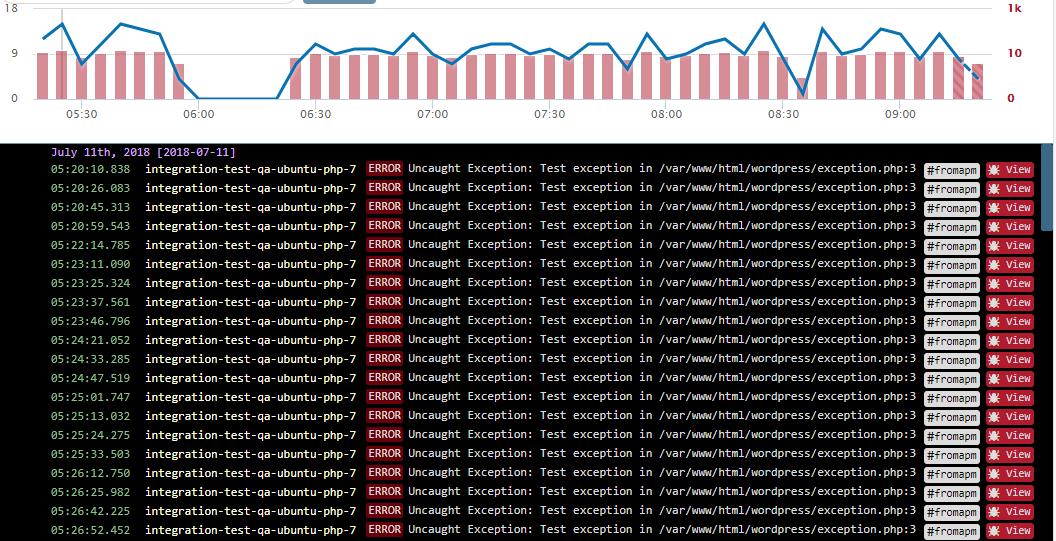 sample screen capture of Retrace's log viewer