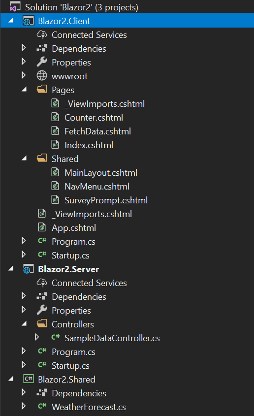 Shows the directory tree of a Blazor application in Visual Studio