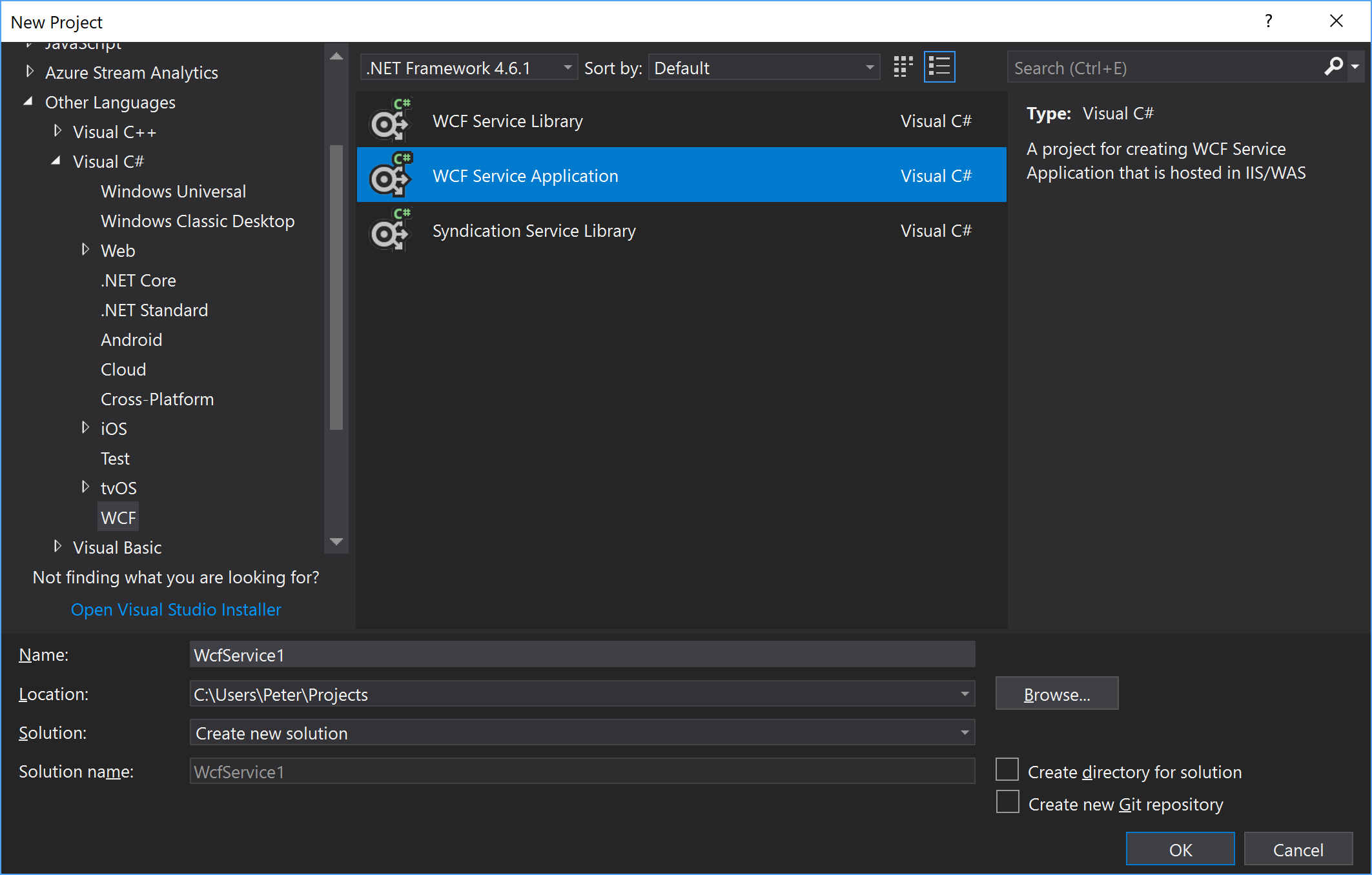 "create a new ""WCF Service Application"" in Visual Studio"