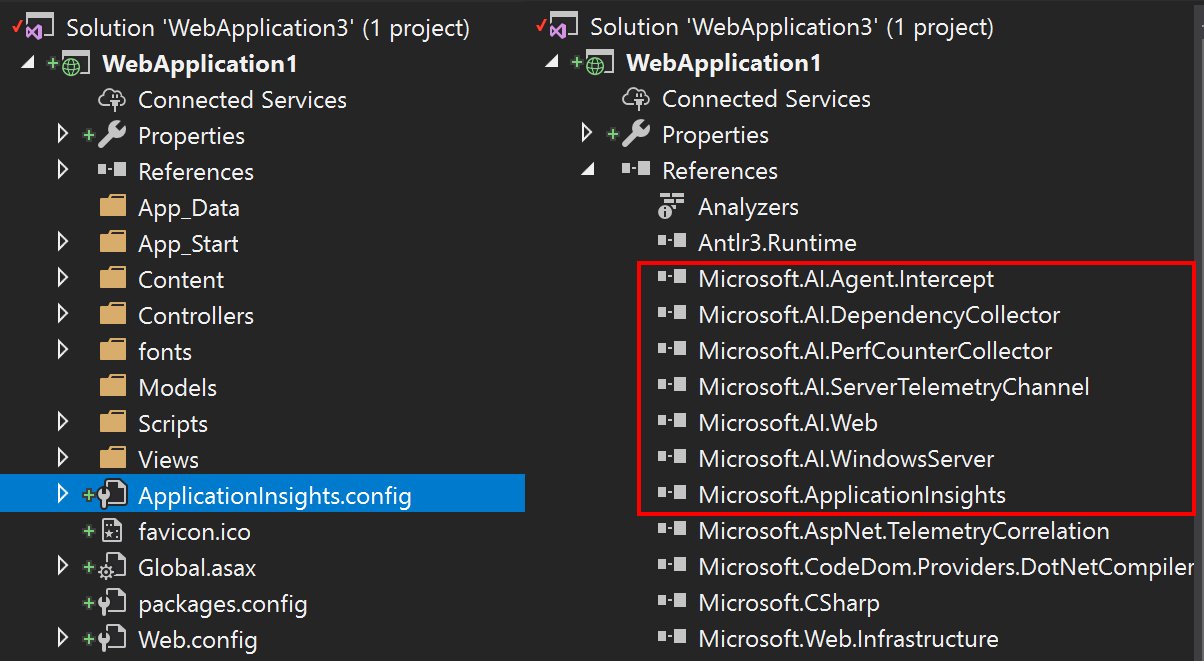 Below are a couple screenshots showing the ApplicationInsights.config and added project dependencies.