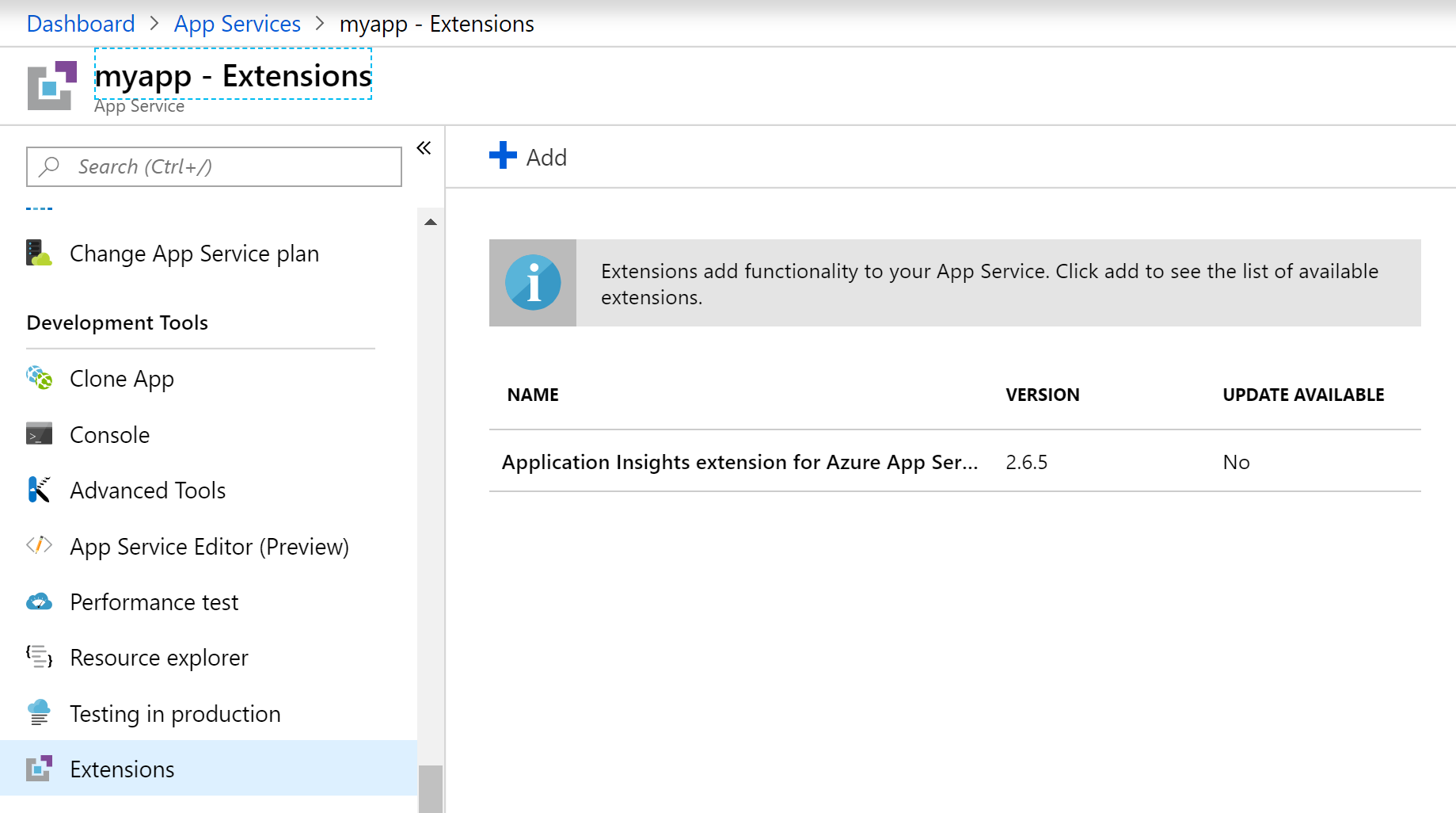 How to disable Application Insights from Azure App Services