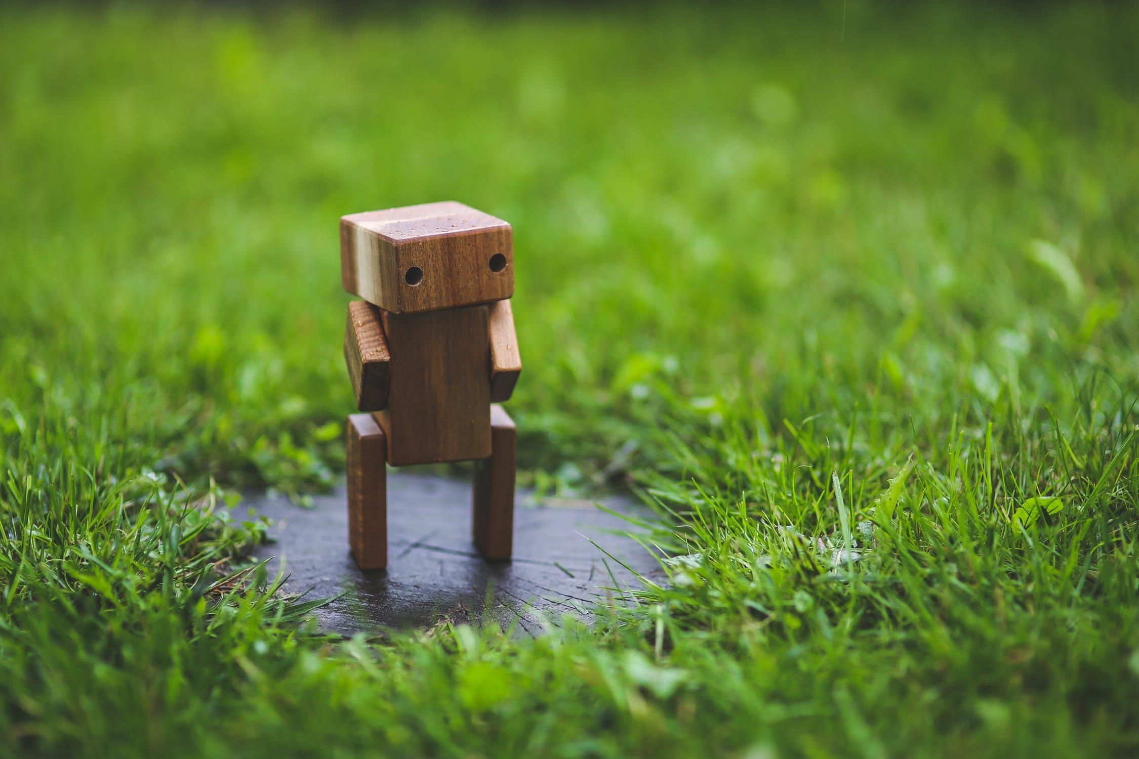 wooden robot in a patch of grass