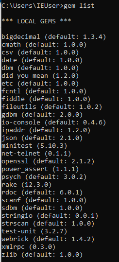 Ruby Gem List Windows