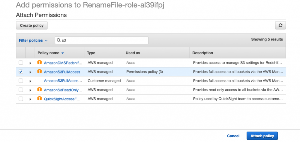 AWS IAM Attach Policy