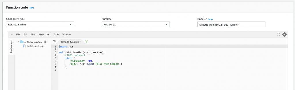 lambda function code