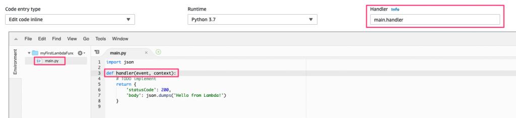 lambda code entry type